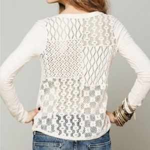 Free People Cream Lace Detail Long Sleeve